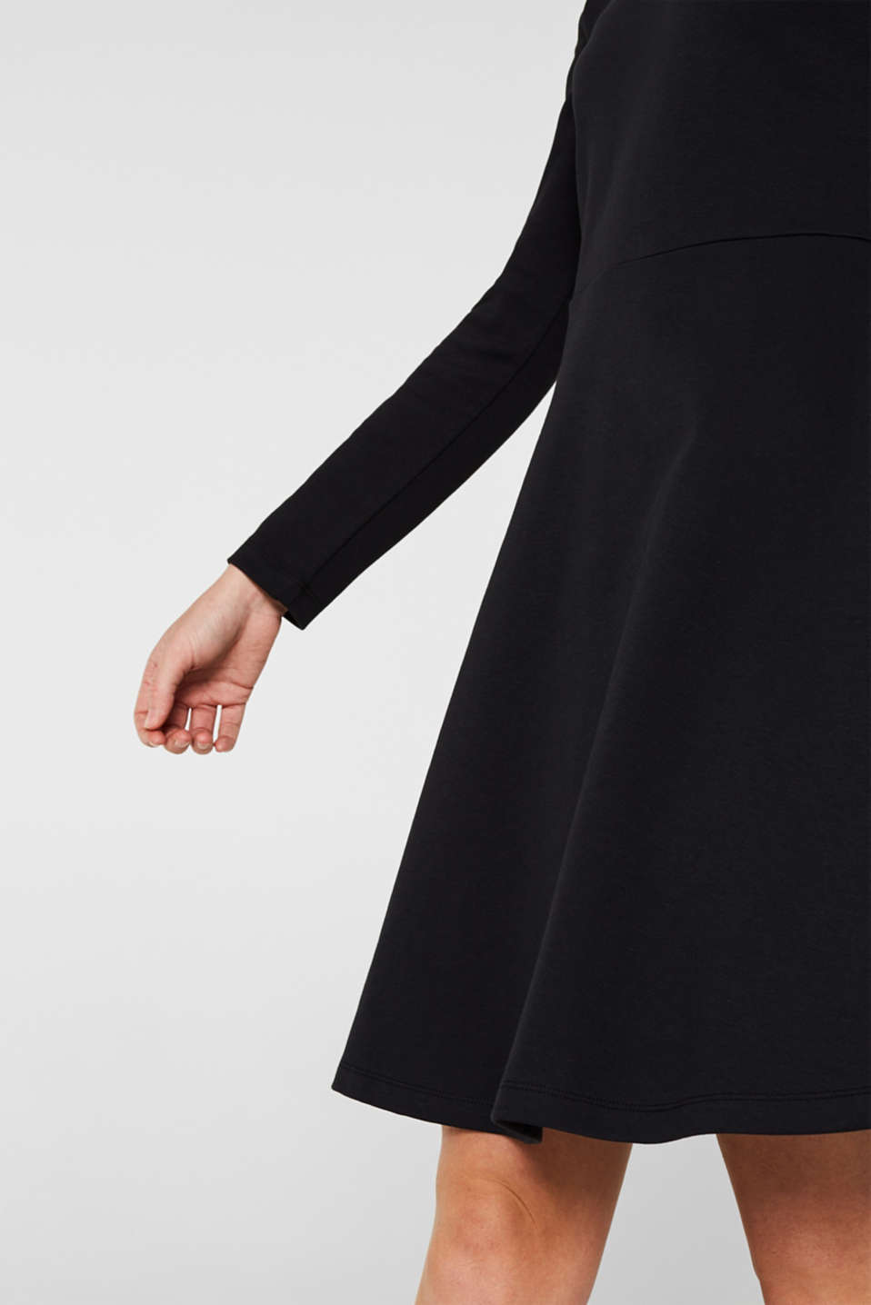 Textured stretch jersey dress, BLACK, detail image number 3