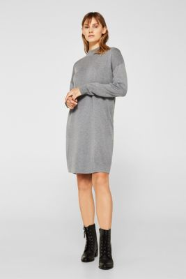 Dress made of a fine knit, recycled, GUNMETAL 5, detail