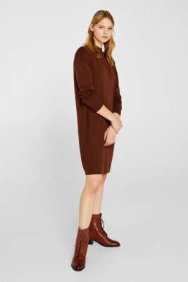 Dress made of a fine knit, recycled, DARK BROWN, detail