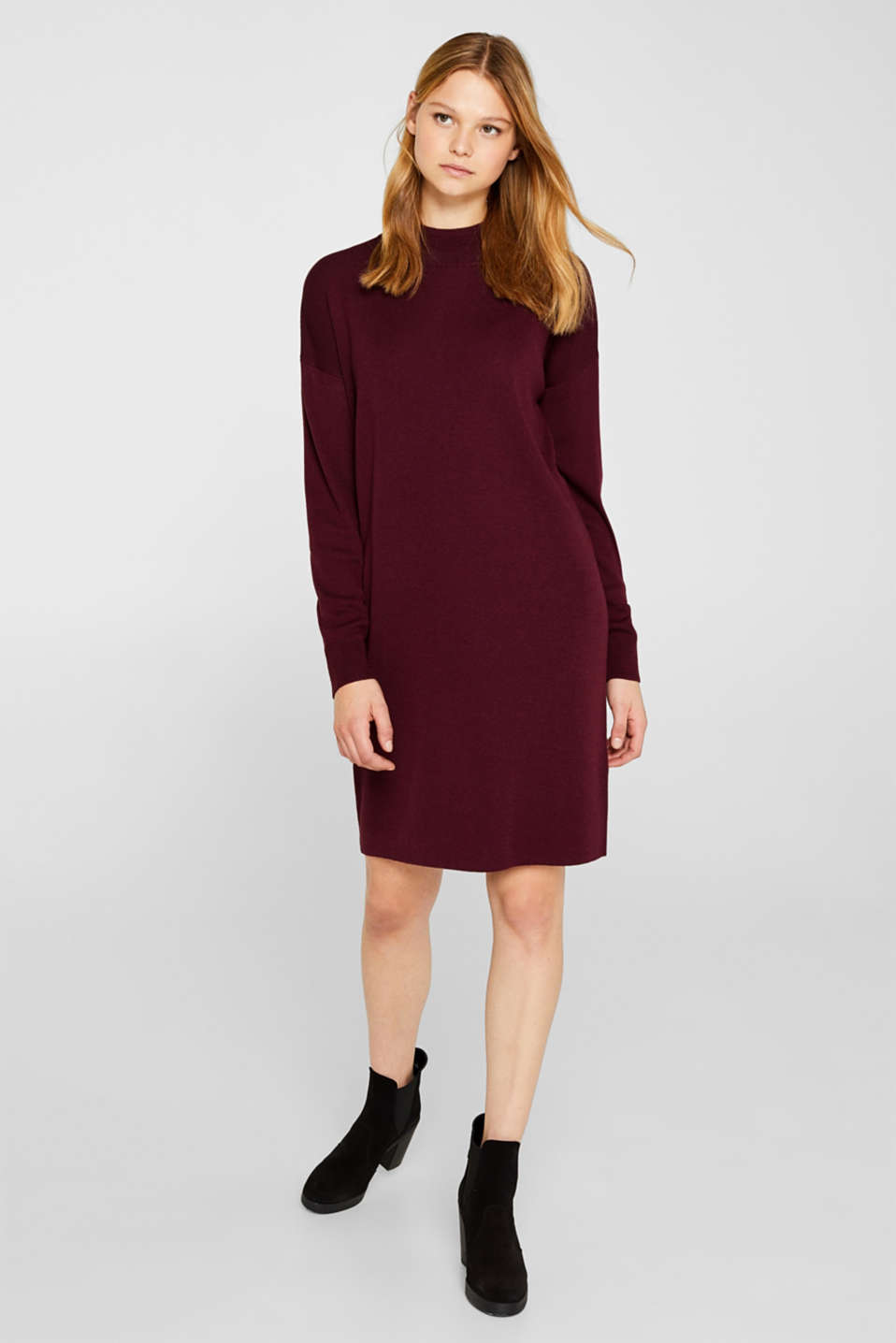 Dress made of a fine knit, recycled, BORDEAUX RED, detail image number 1