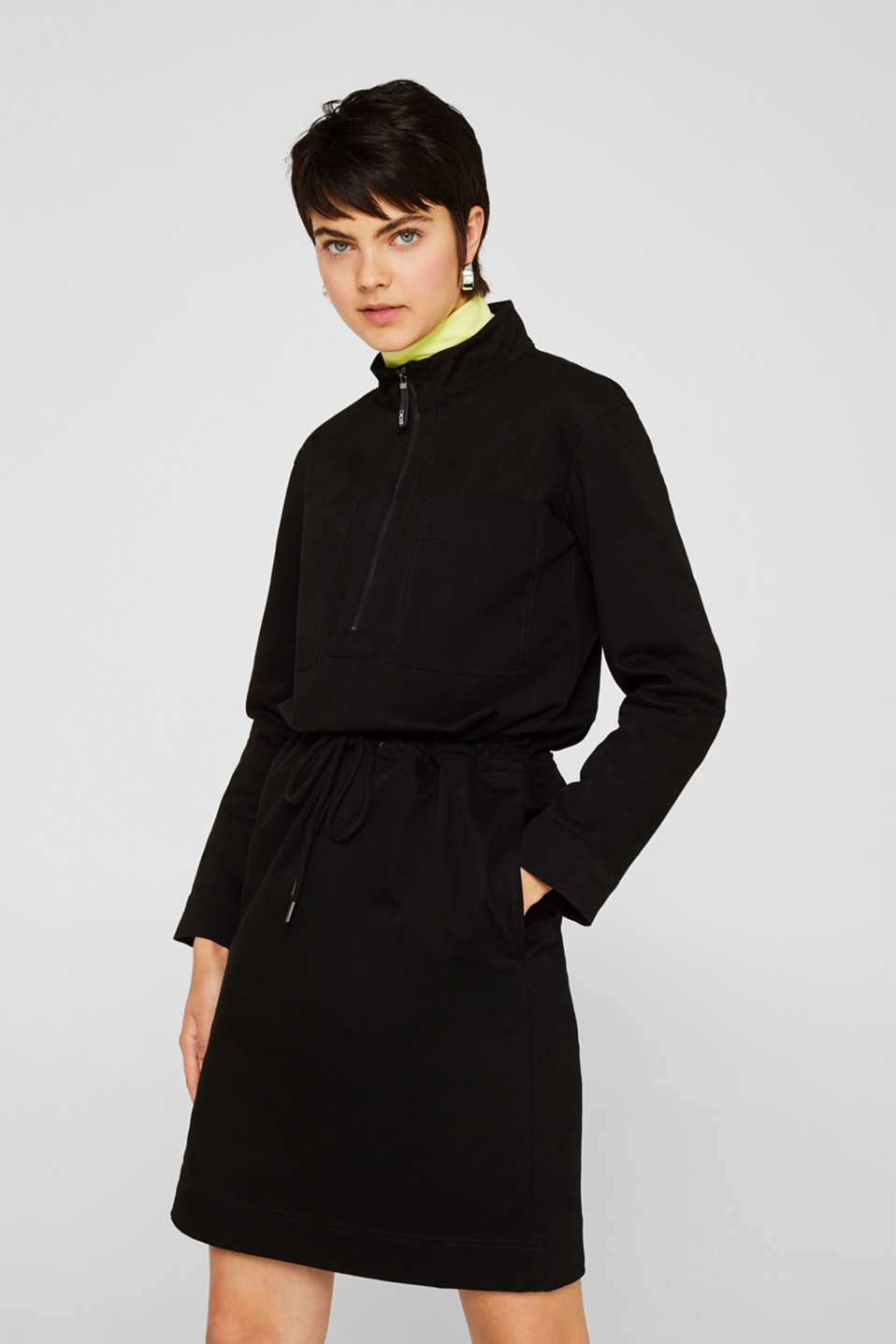 Stretch cotton twill dress, BLACK, detail image number 0