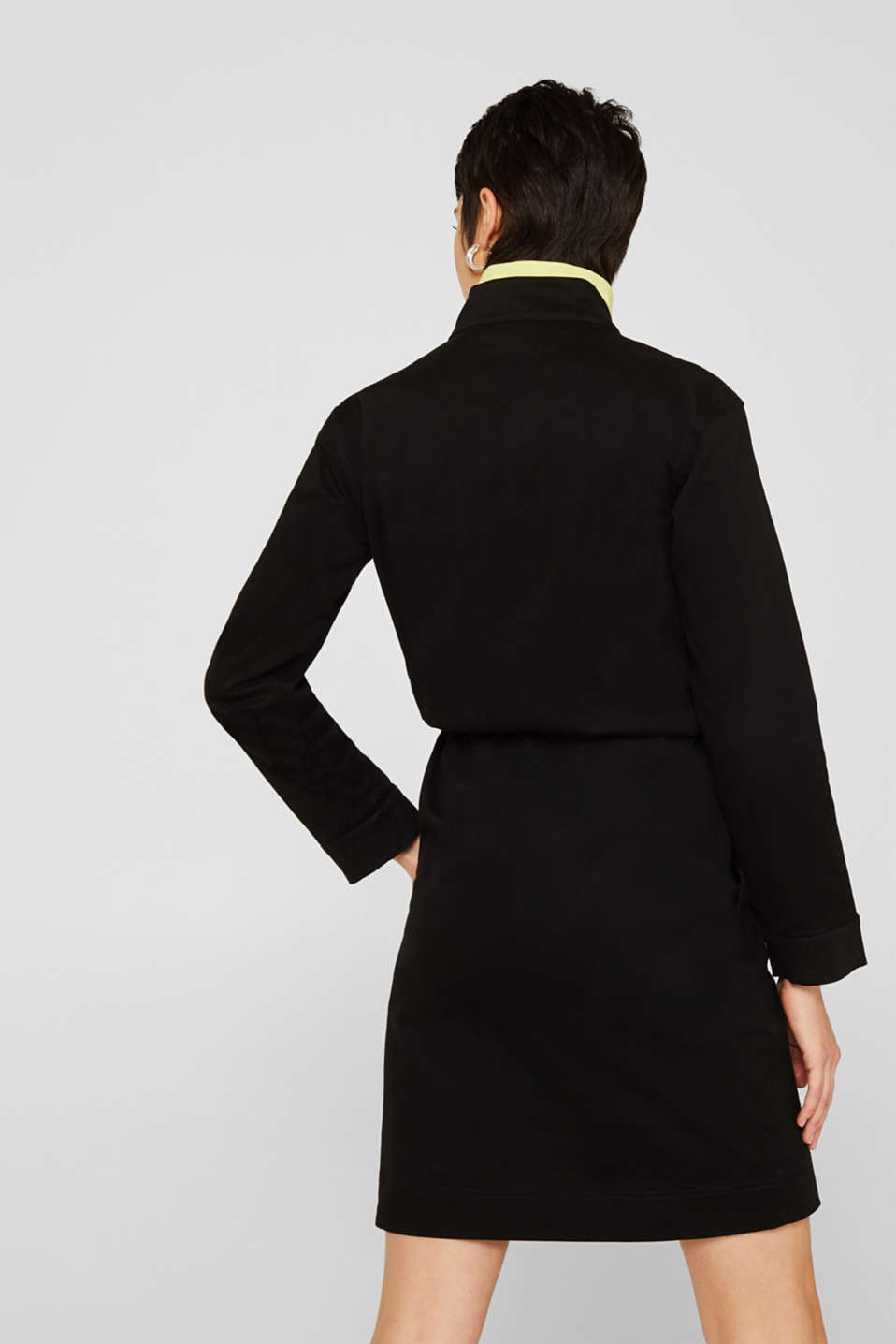 Stretch cotton twill dress, BLACK, detail image number 2