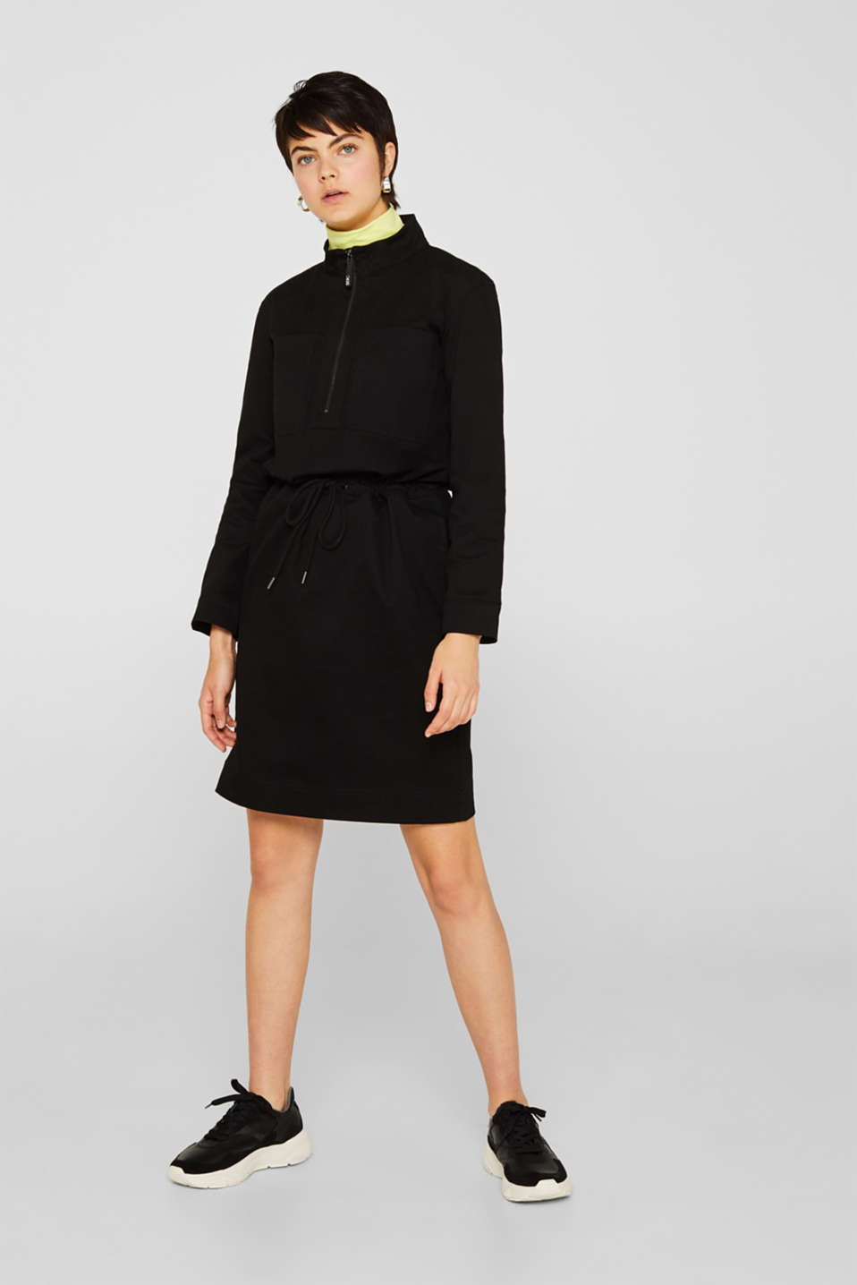 Stretch cotton twill dress, BLACK, detail image number 1