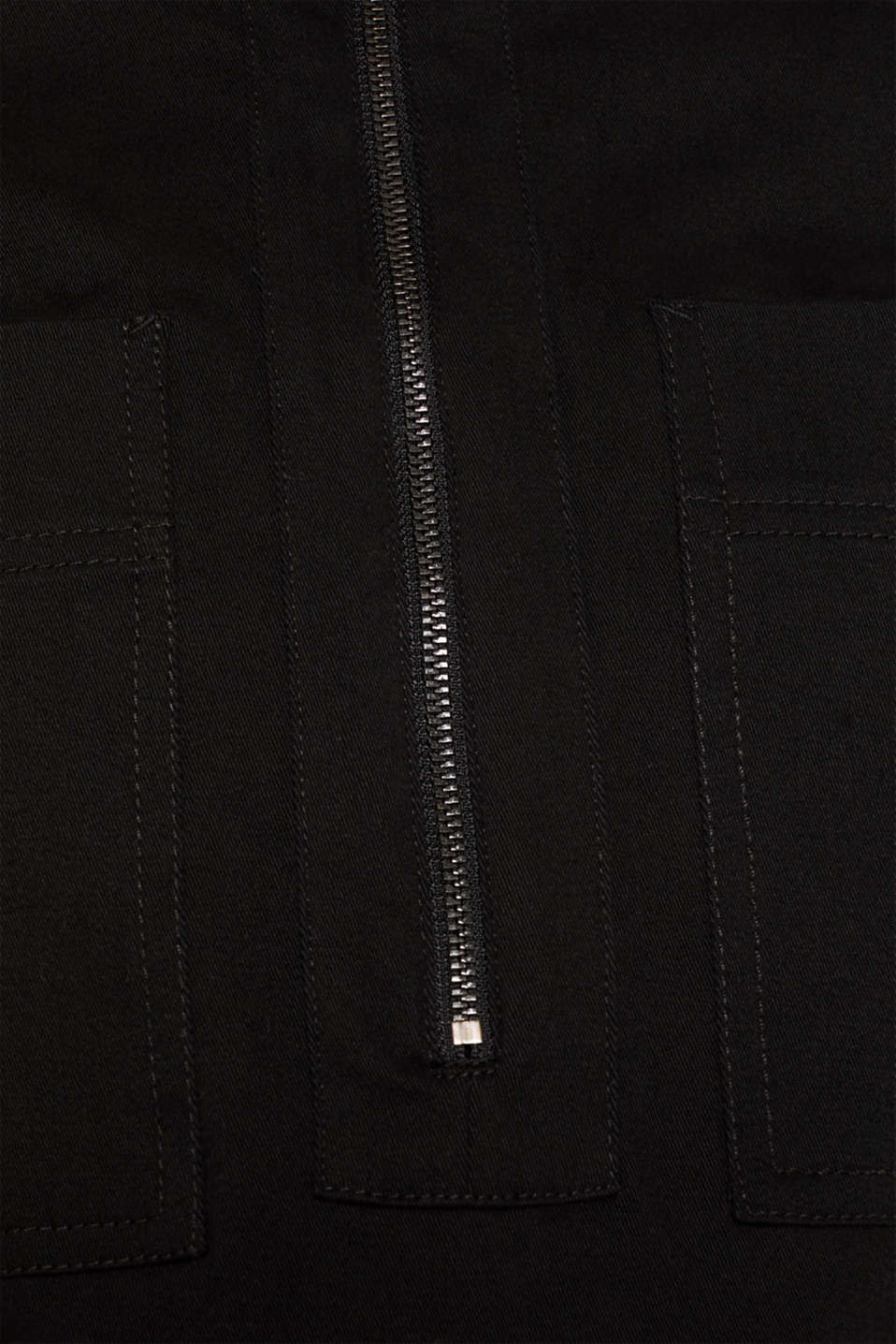 Stretch cotton twill dress, BLACK, detail image number 4