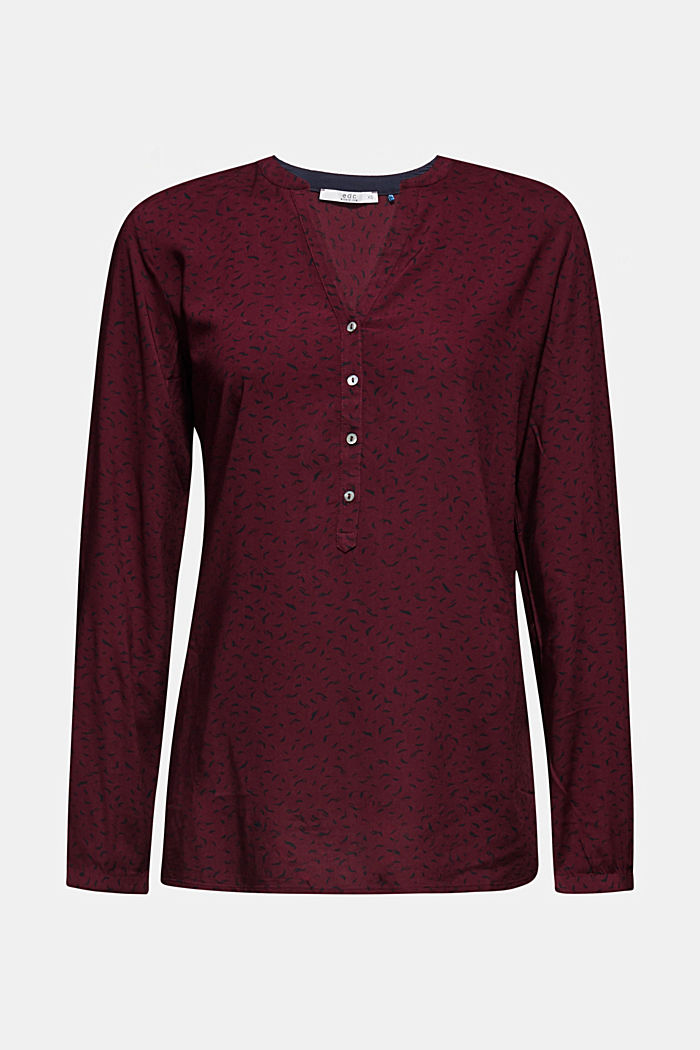 Print blouse made of LENZING™ ECOVERO™, BORDEAUX RED, detail image number 7