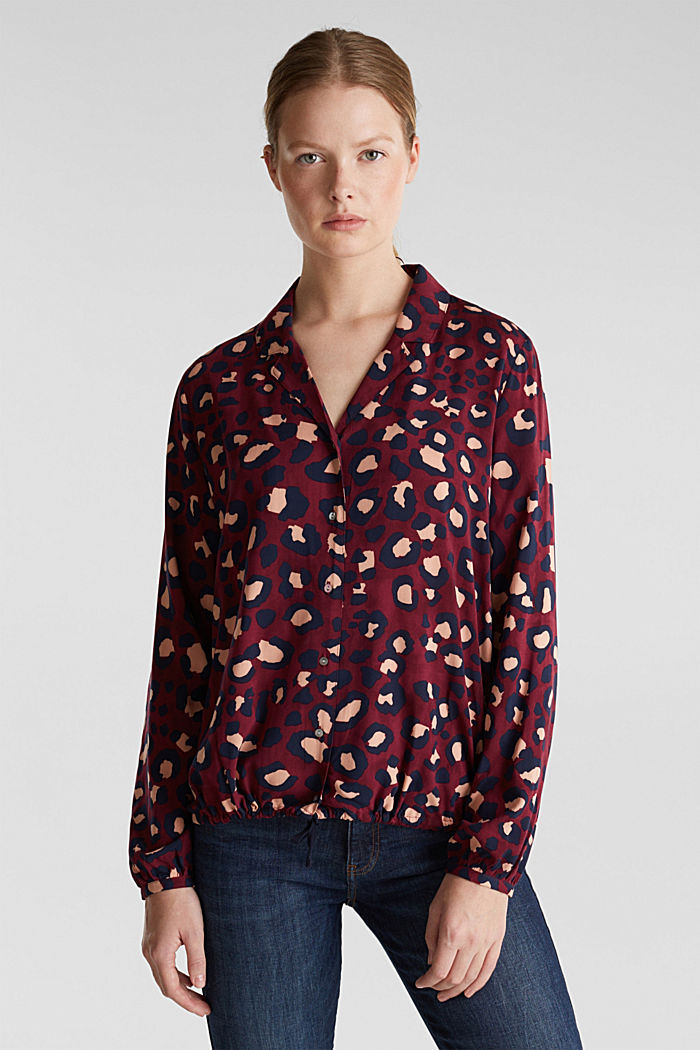 Blouse with leopard print and balloon hem, BORDEAUX RED, detail image number 0