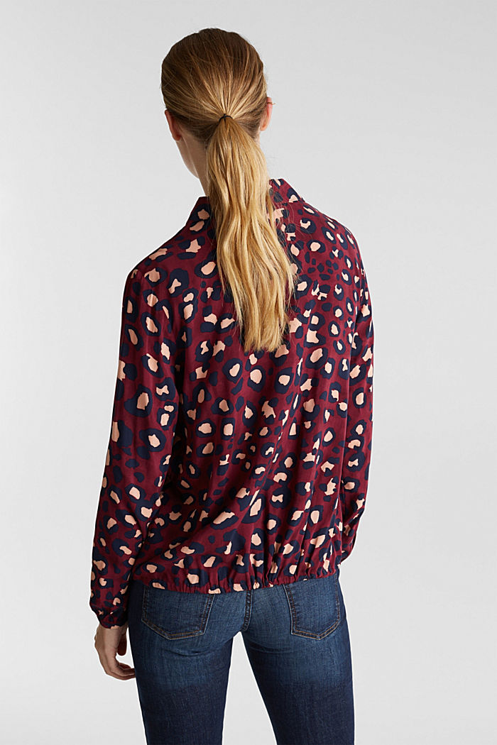 Blouse with leopard print and balloon hem, BORDEAUX RED, detail image number 3