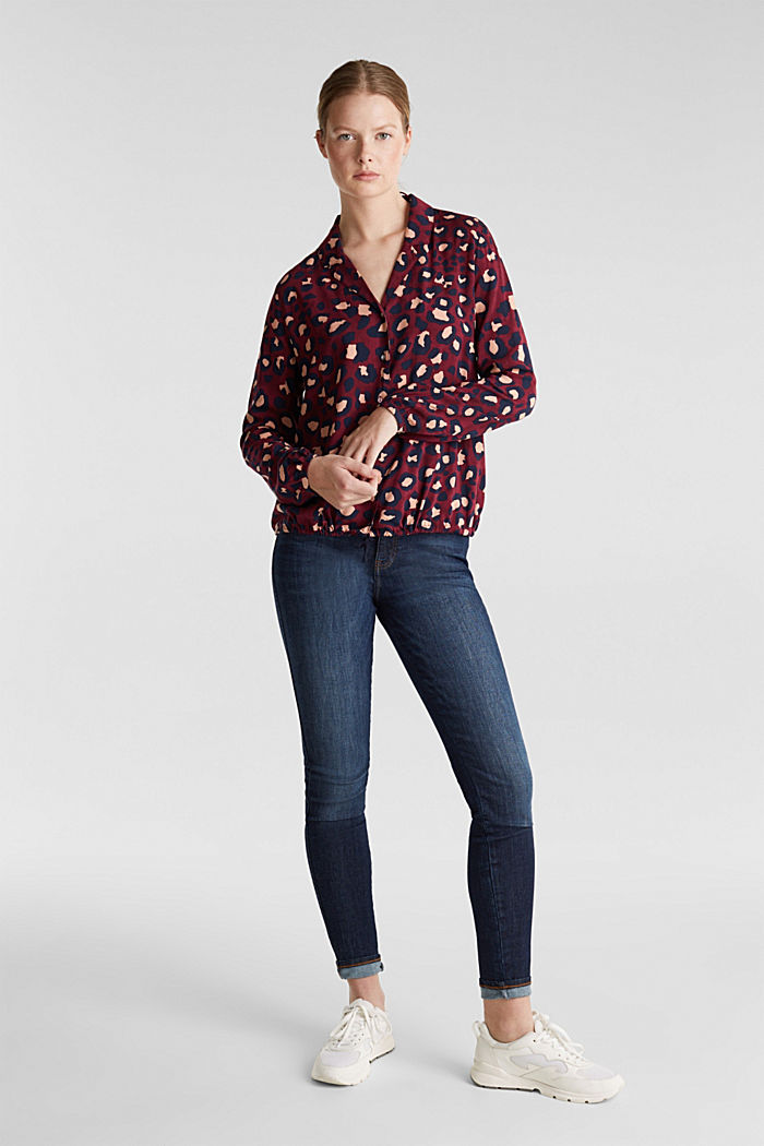 Blouse with leopard print and balloon hem, BORDEAUX RED, detail image number 1