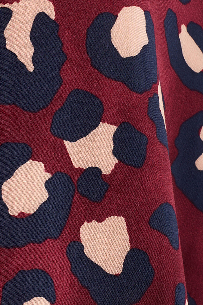 Blouse with leopard print and balloon hem, BORDEAUX RED, detail image number 4