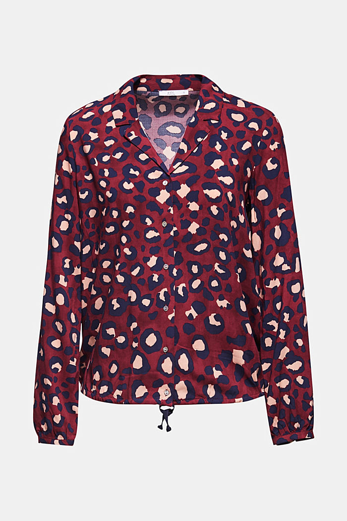 Blouse with leopard print and balloon hem, BORDEAUX RED, detail image number 6