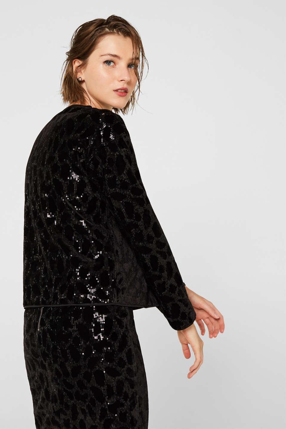 Velvet blouse with sequins in a leopard look, BLACK, detail image number 3