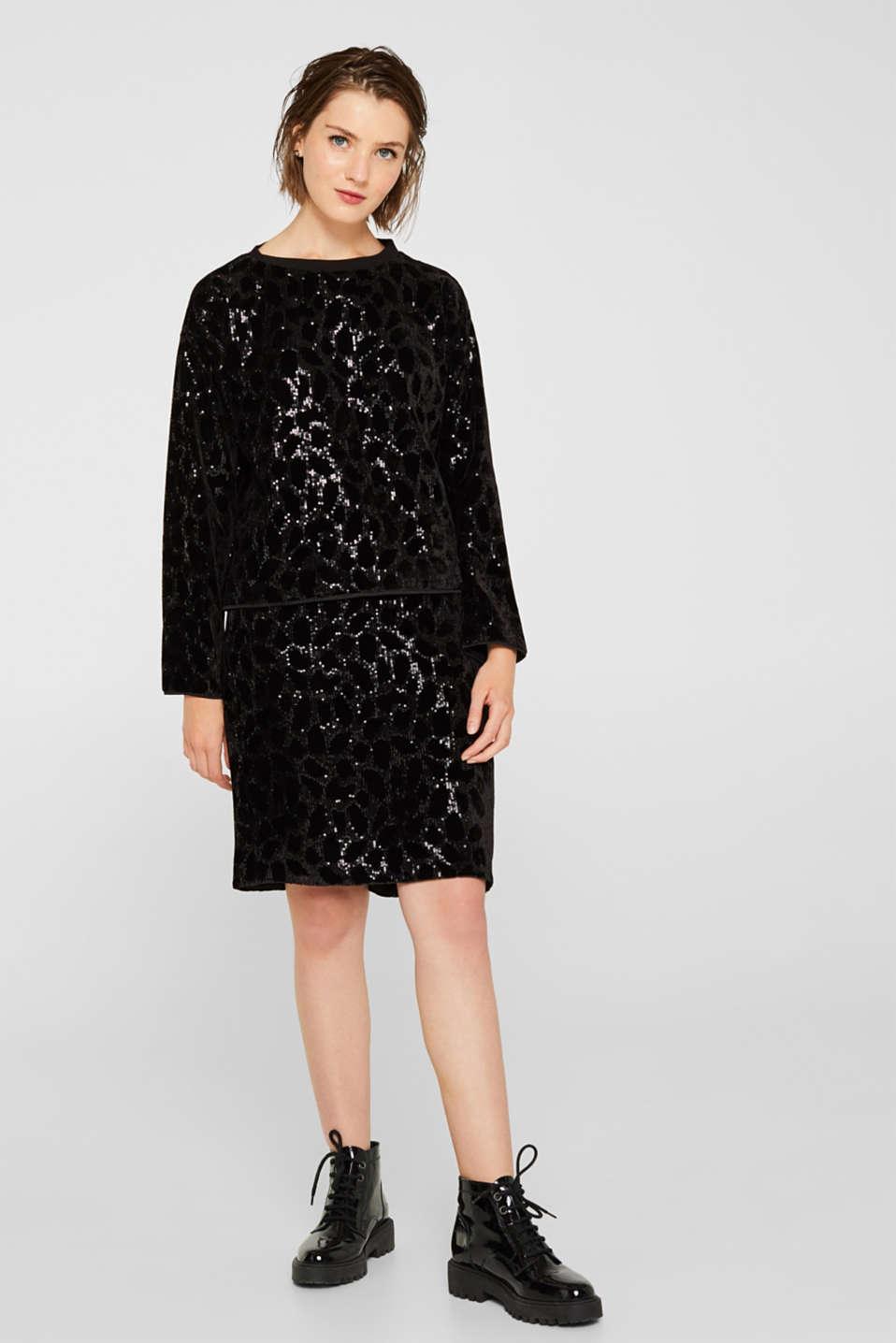 Velvet blouse with sequins in a leopard look, BLACK, detail image number 5