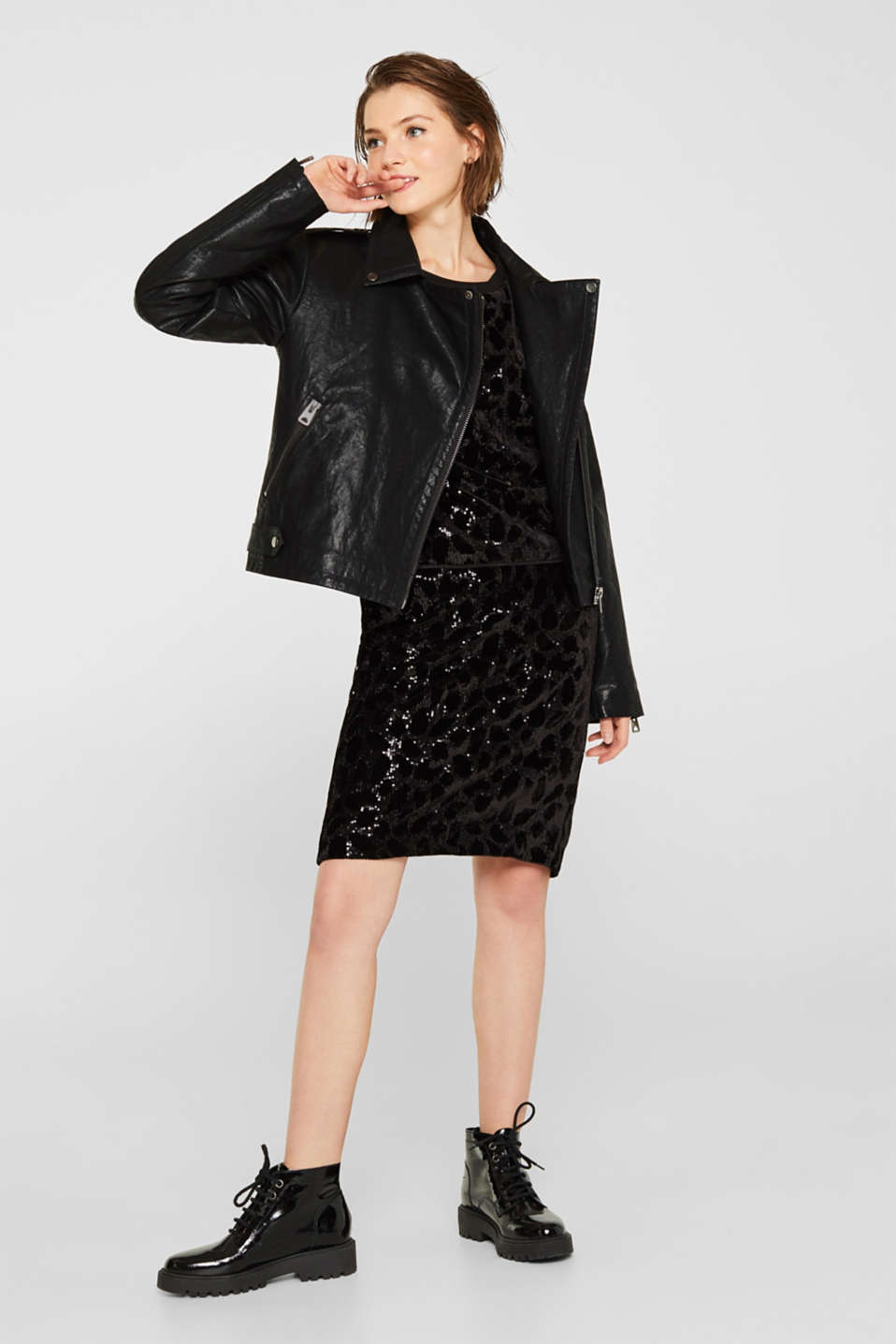 Velvet blouse with sequins in a leopard look, BLACK, detail image number 1