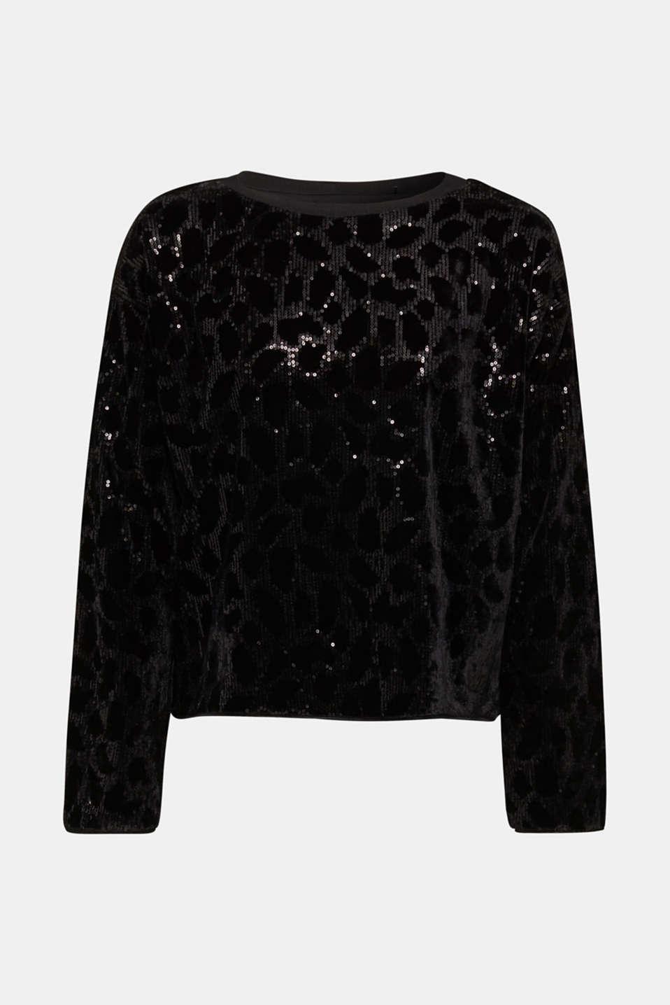 Velvet blouse with sequins in a leopard look, BLACK, detail image number 6