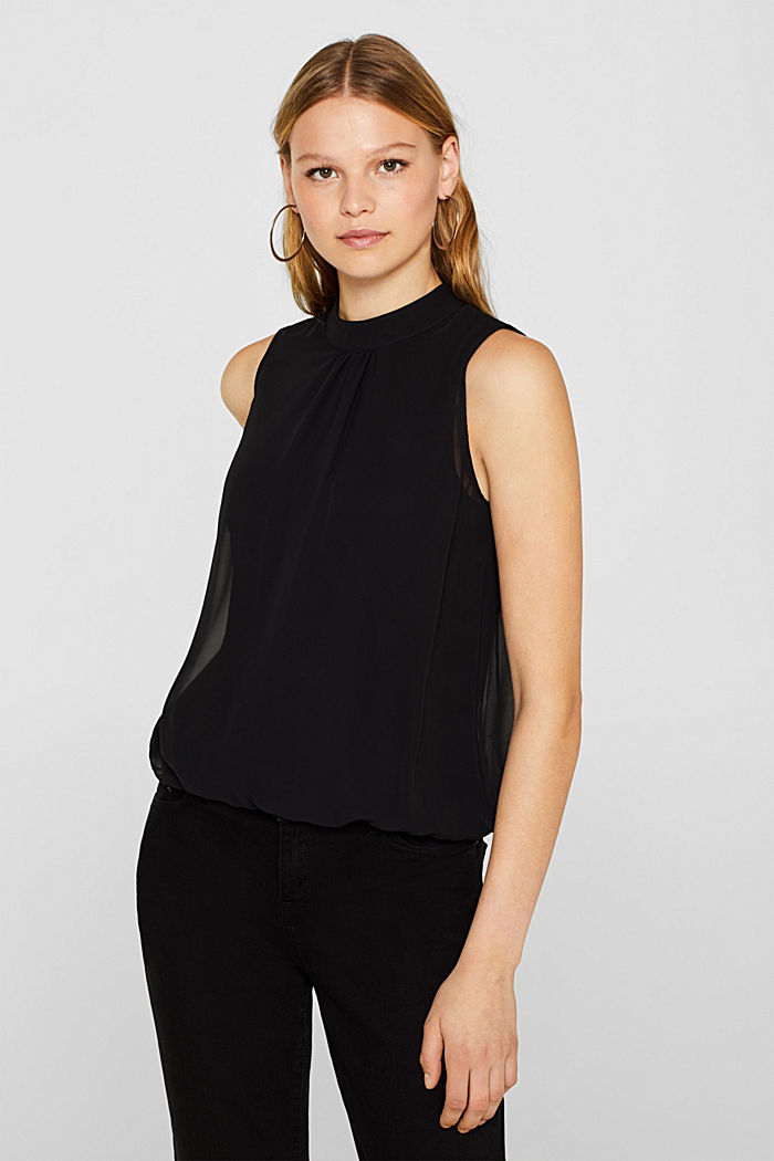 Chiffon/jersey top with a balloon hem, BLACK, detail image number 0