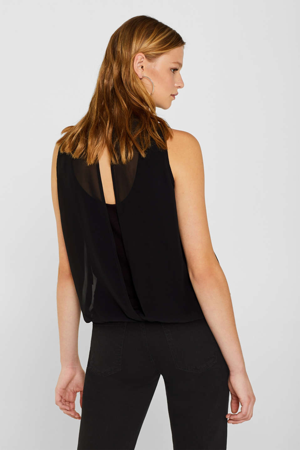 Chiffon/jersey top with a balloon hem, BLACK, detail image number 3