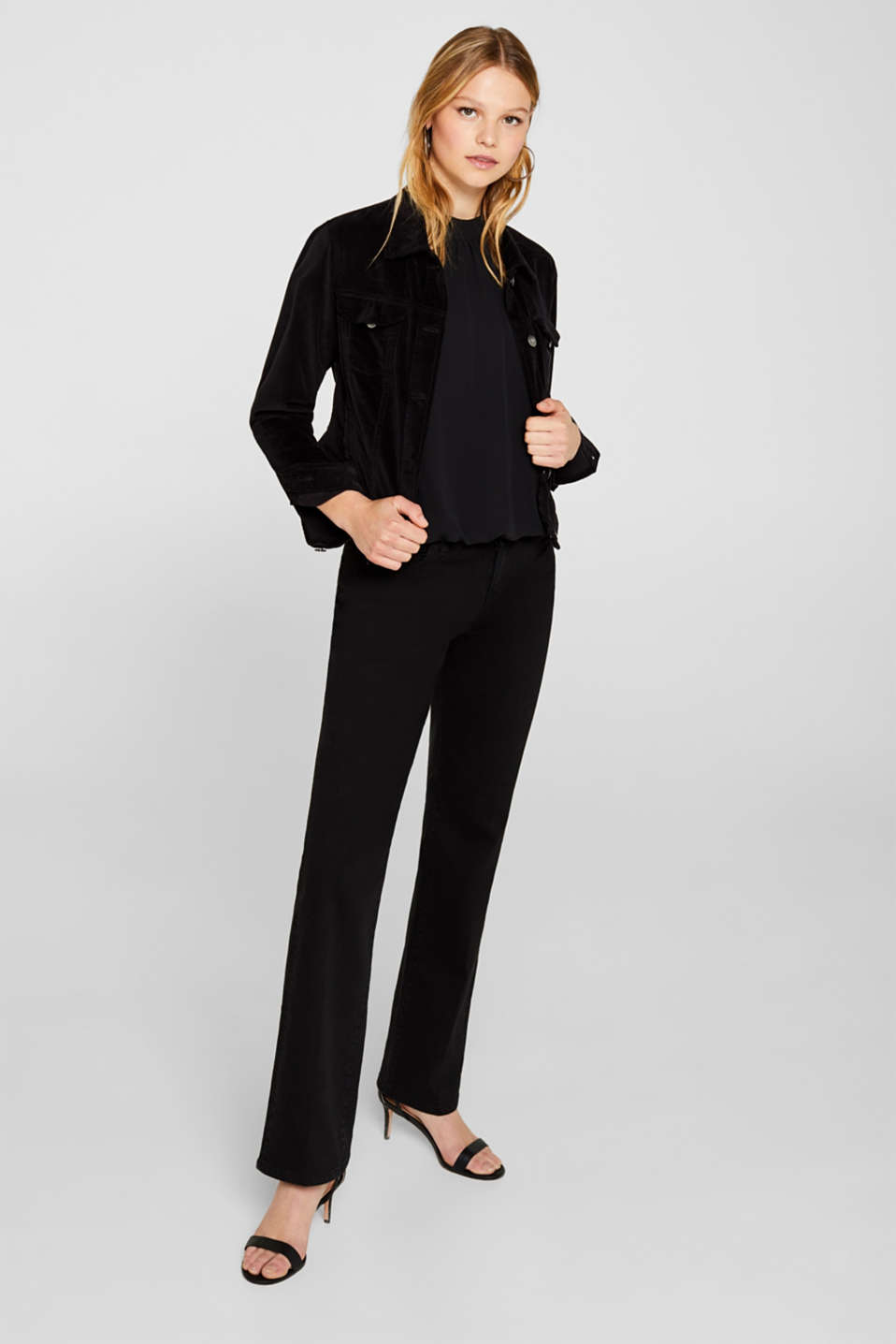 Chiffon/jersey top with a balloon hem, BLACK, detail image number 1