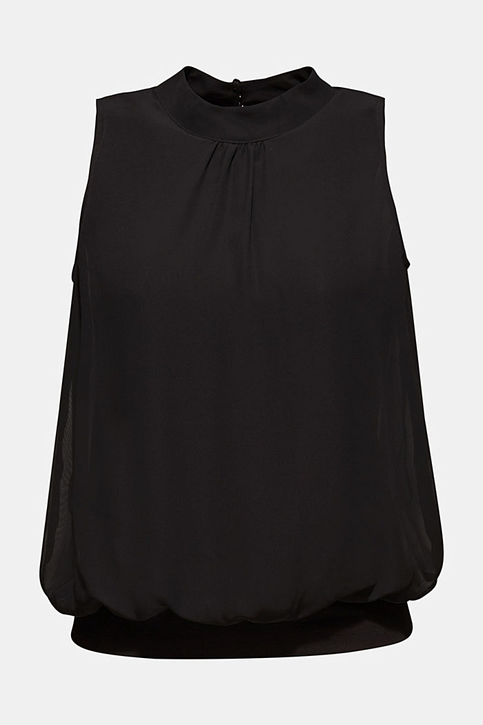 Chiffon/jersey top with a balloon hem, BLACK, detail image number 5