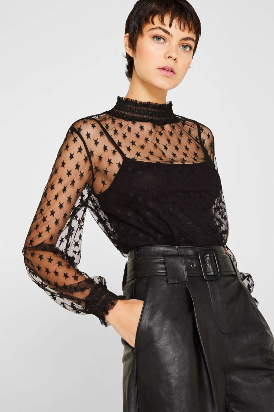 edc - 2-in-1: mesh blouse + stretchtop