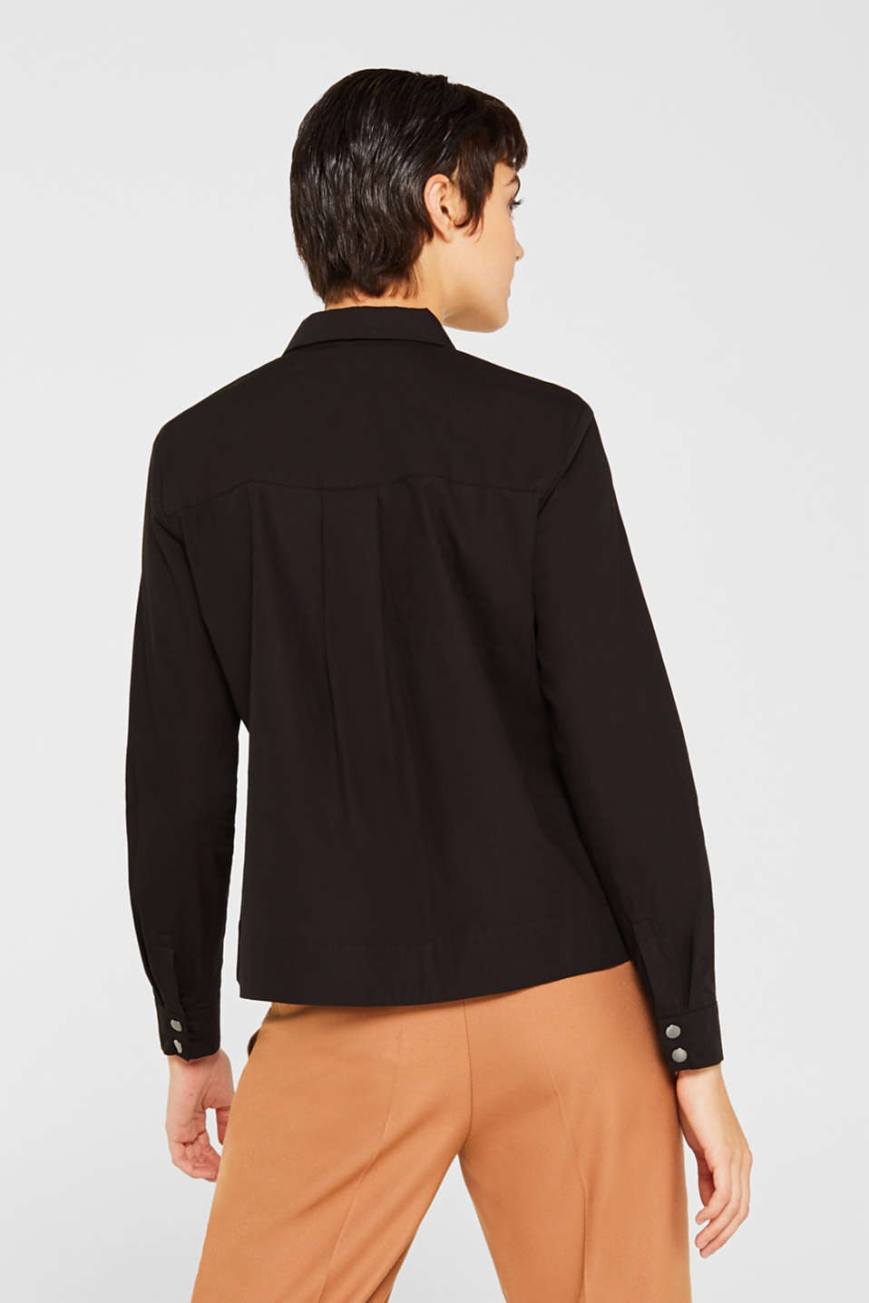 Bomber jacket-style blouse, 100% cotton, BLACK, detail image number 3