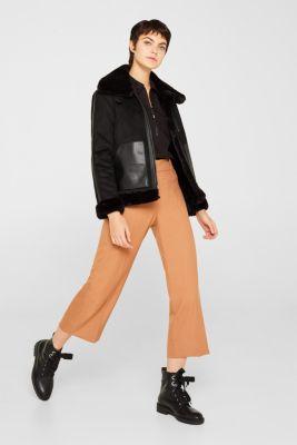 Bomber jacket-style blouse, 100% cotton, BLACK, detail