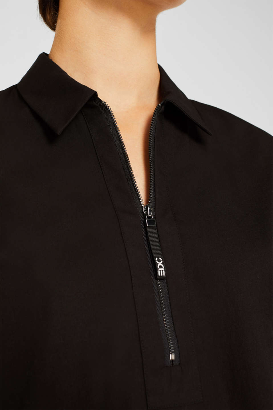 Bomber jacket-style blouse, 100% cotton, BLACK, detail image number 2