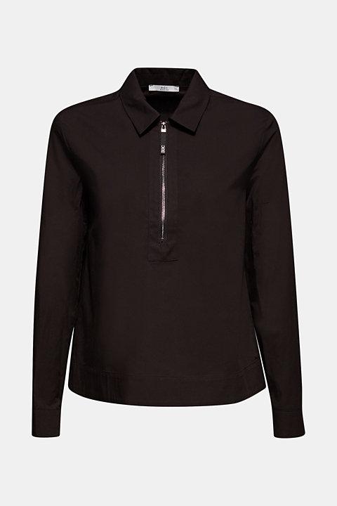 Bomber jacket-style blouse, 100% cotton