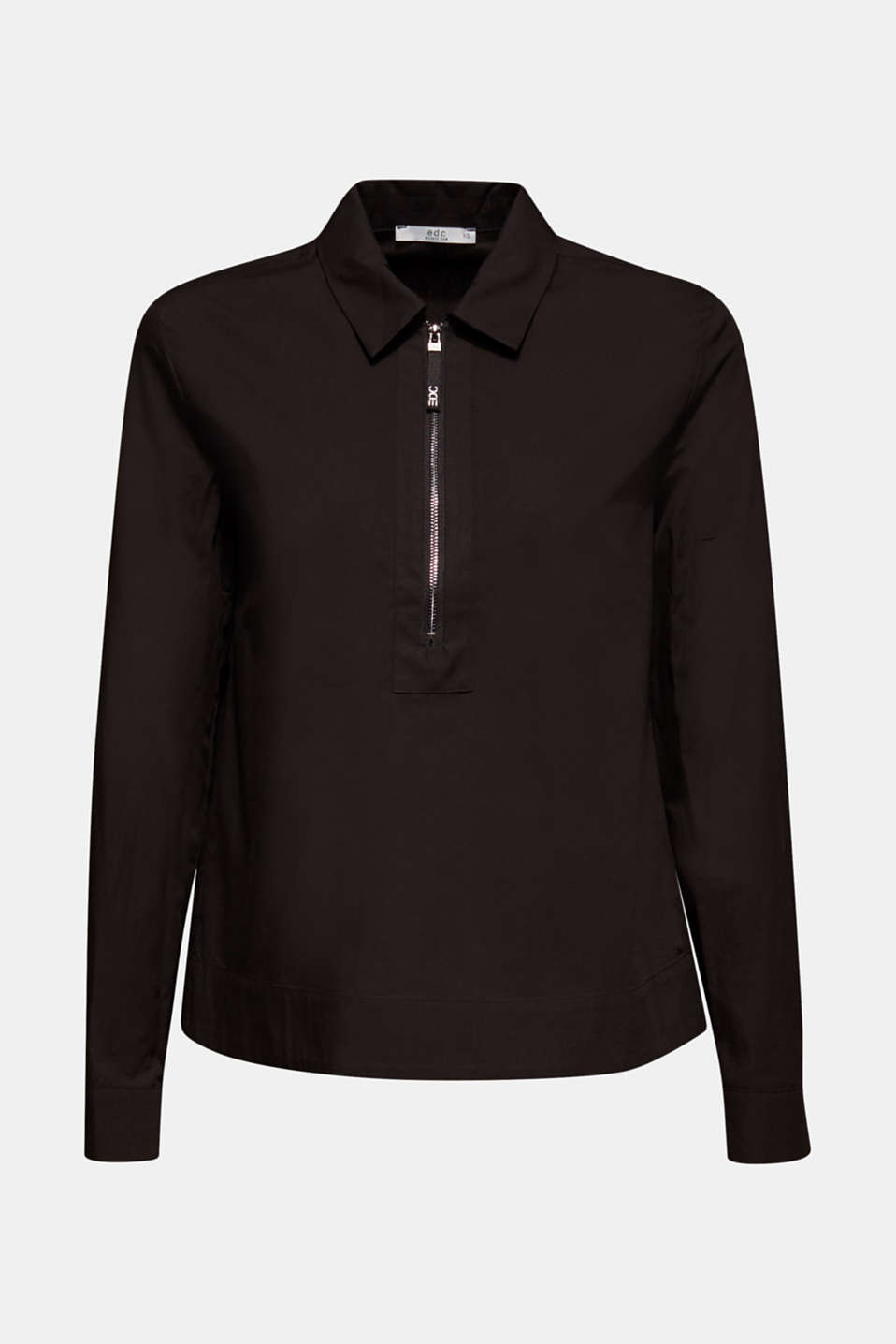 Bomber jacket-style blouse, 100% cotton, BLACK, detail image number 6