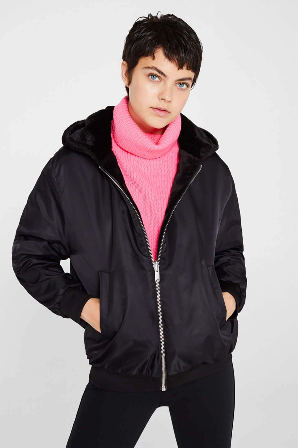edc Reversible jacket with a faux fur side and hood at our