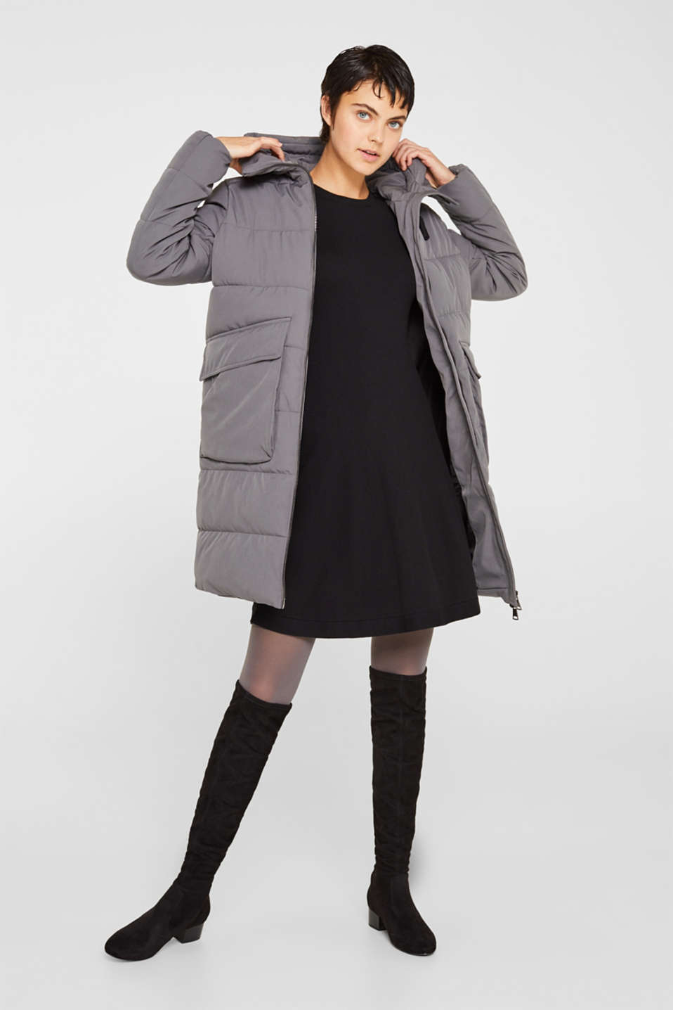 Quilted coat with hood, ANTHRACITE, detail image number 0