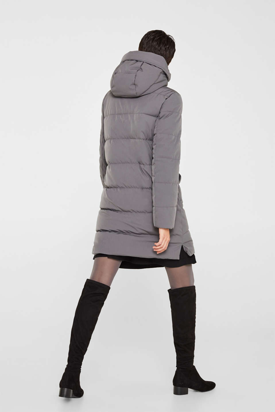 Quilted coat with hood, ANTHRACITE, detail image number 3