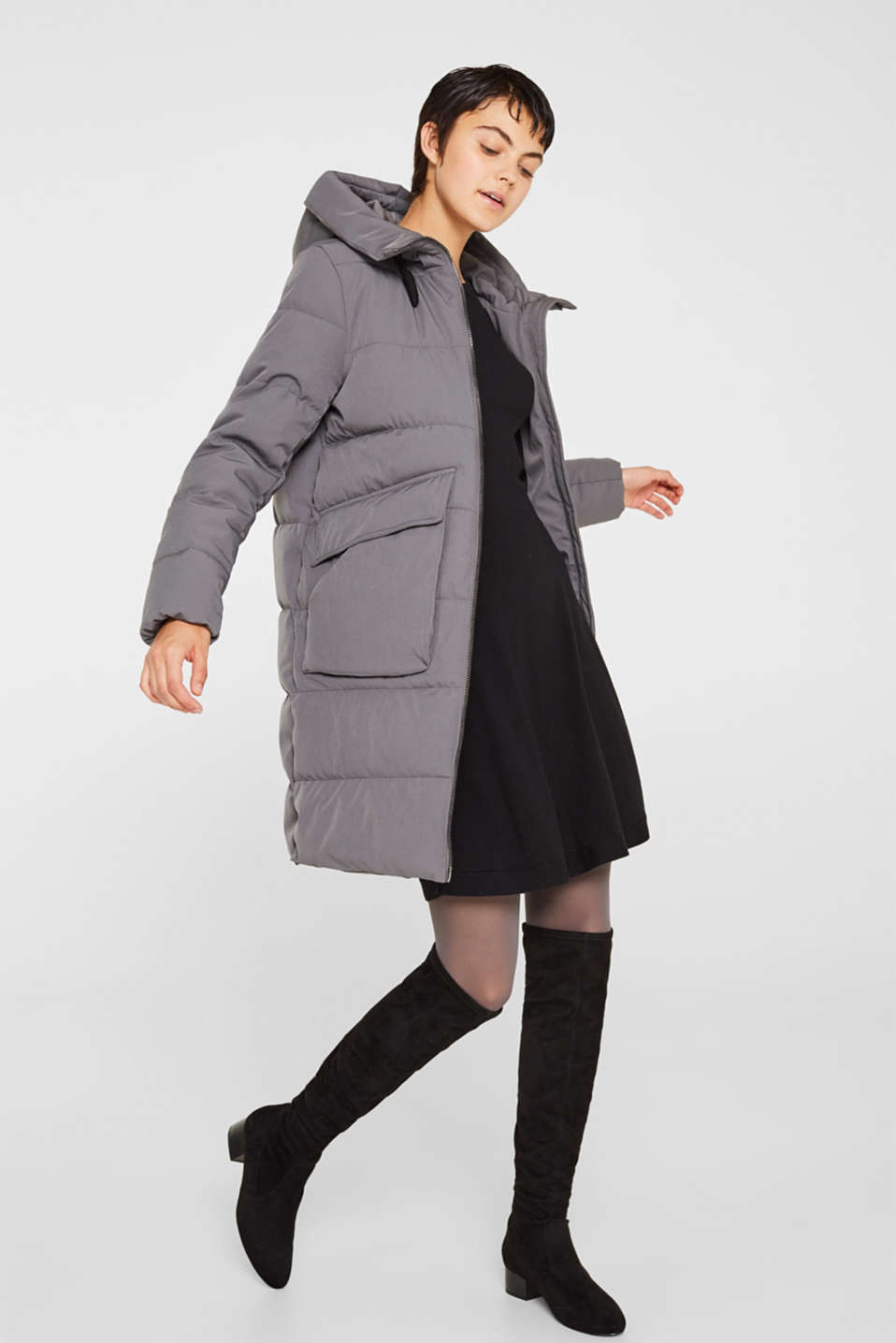 Quilted coat with hood, ANTHRACITE, detail image number 1