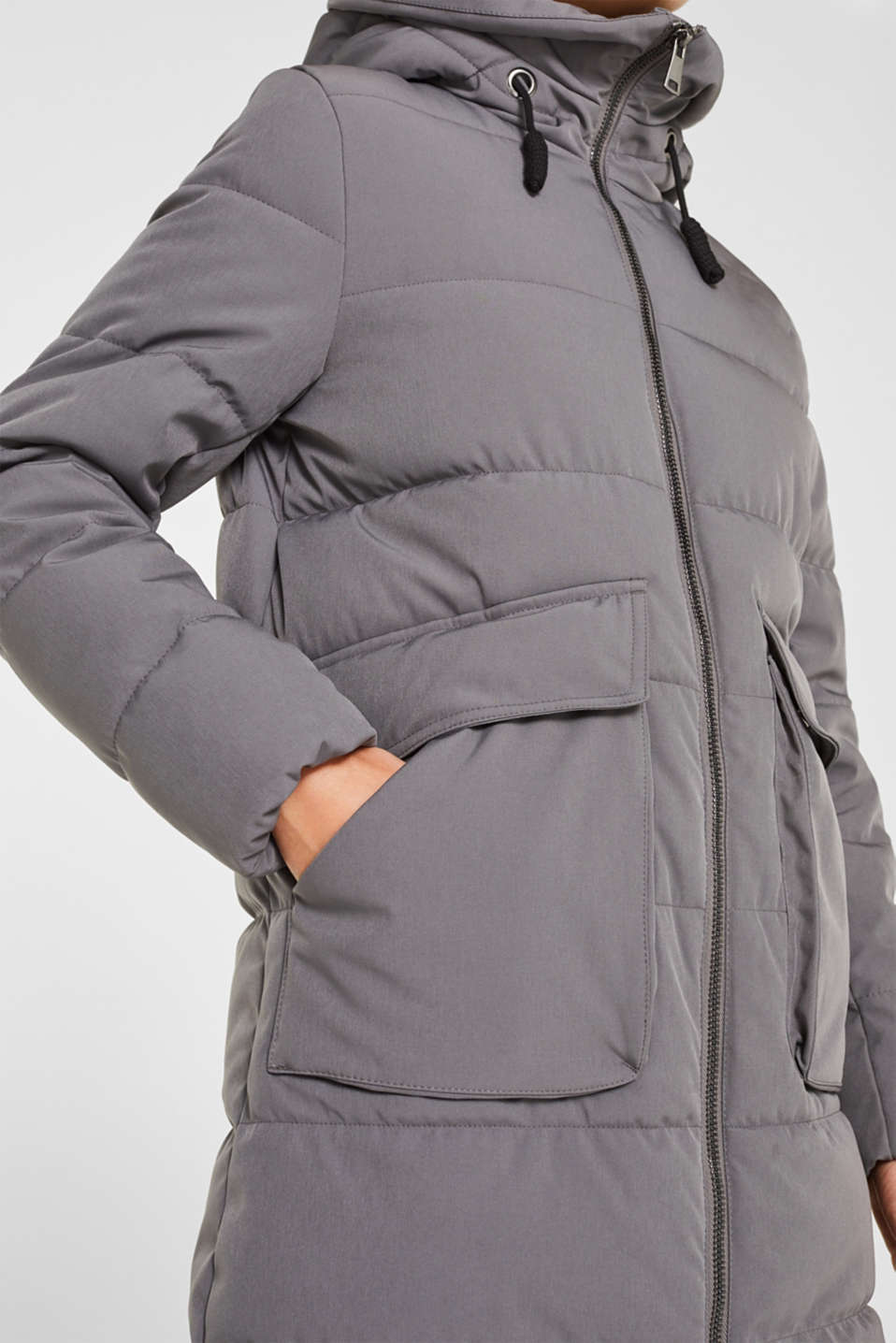 Quilted coat with hood, ANTHRACITE, detail image number 5