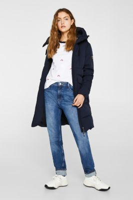 Quilted coat with hood, NAVY, detail