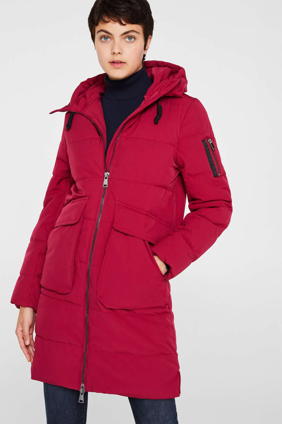 Quilted coat with hood, BERRY PURPLE, detail image number 0
