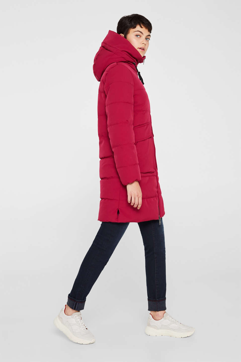 Quilted coat with hood, BERRY PURPLE, detail image number 5