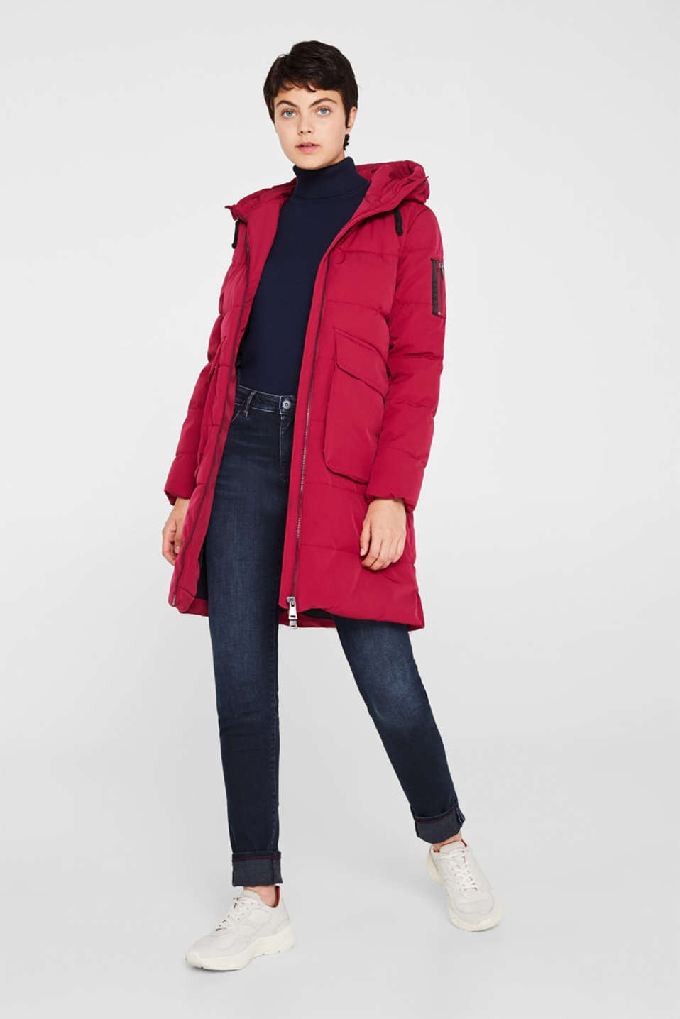 Quilted coat with hood, BERRY PURPLE, detail image number 1