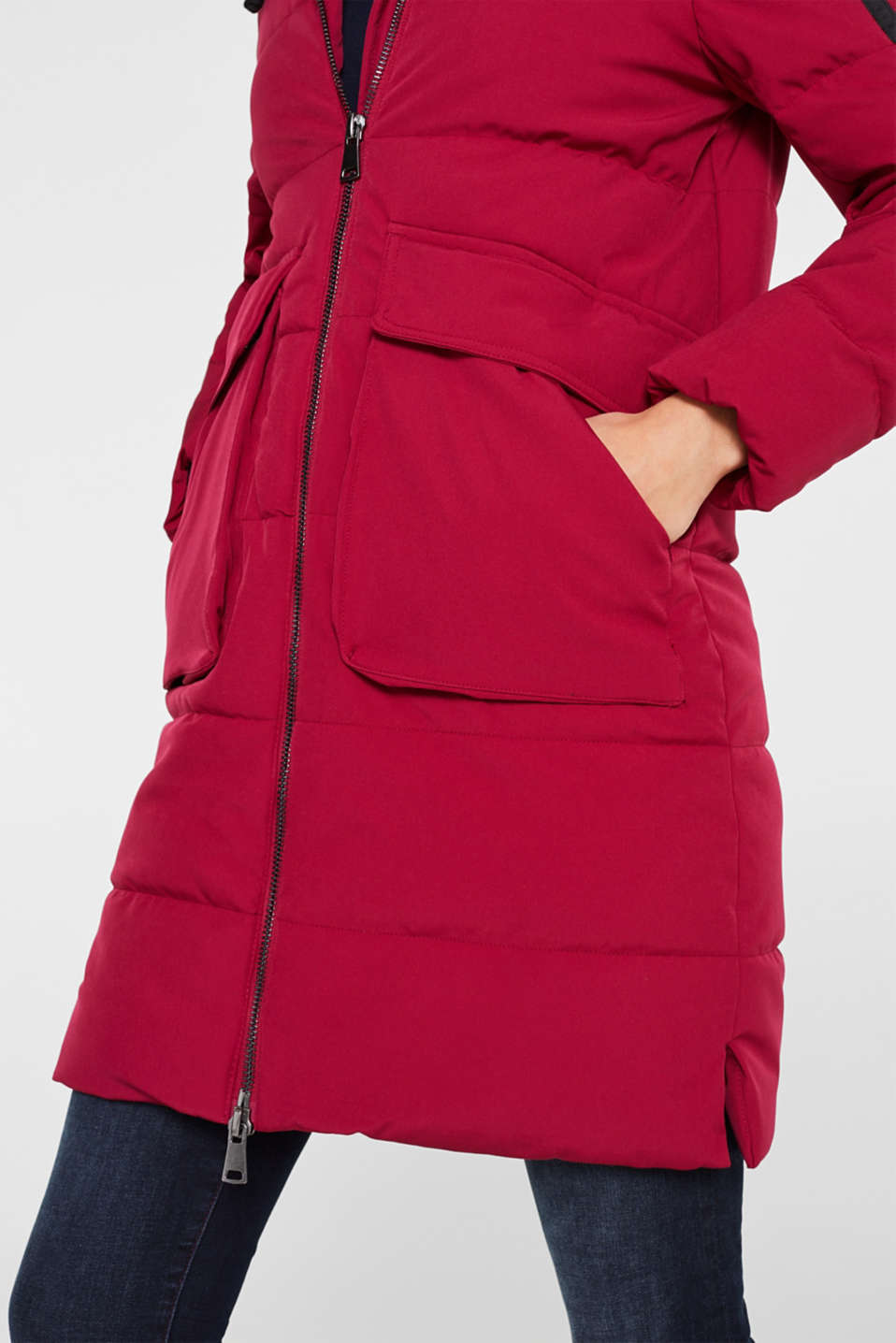 Quilted coat with hood, BERRY PURPLE, detail image number 2