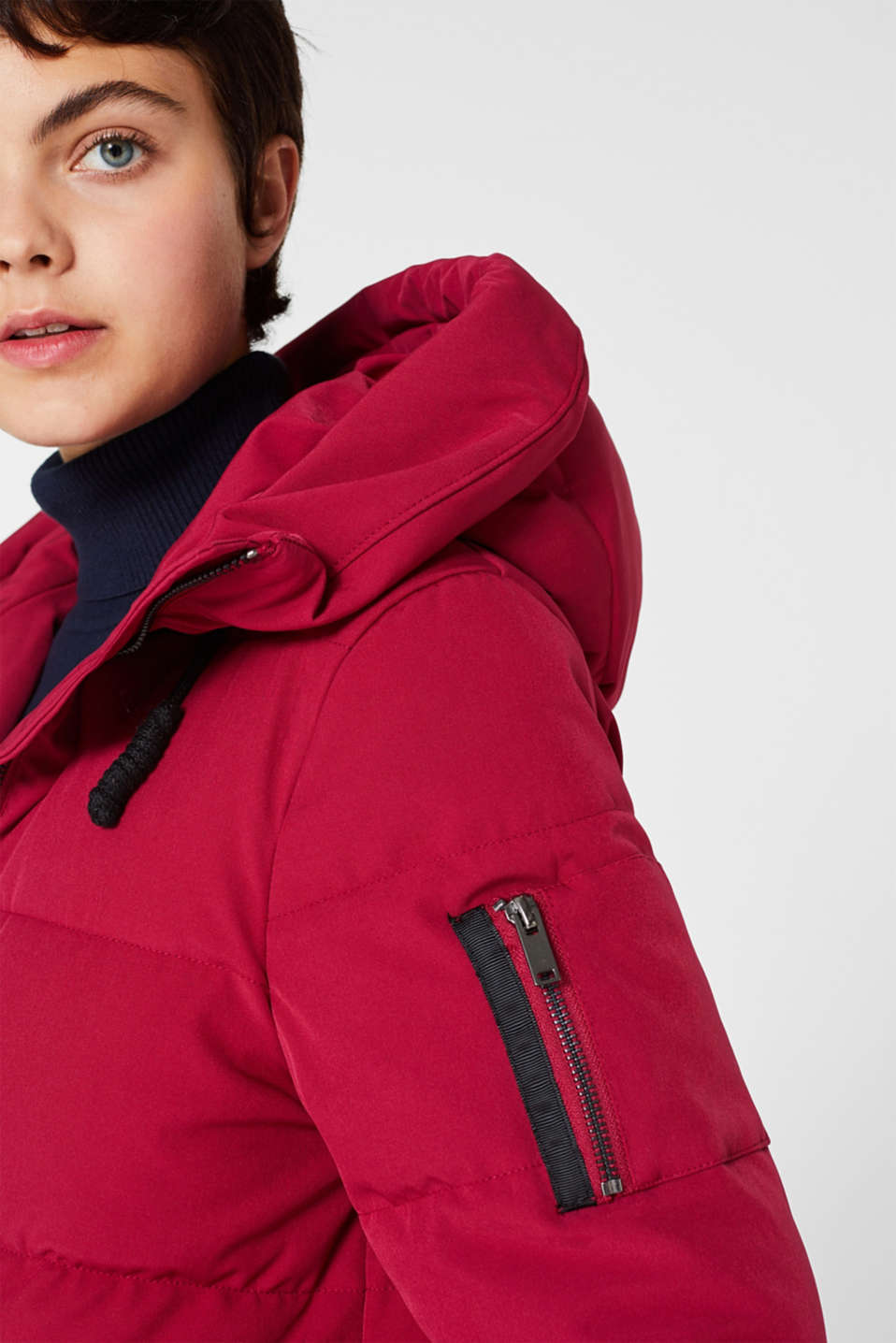 Quilted coat with hood, BERRY PURPLE, detail image number 6