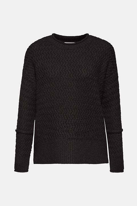 Wool blend: textured jumper