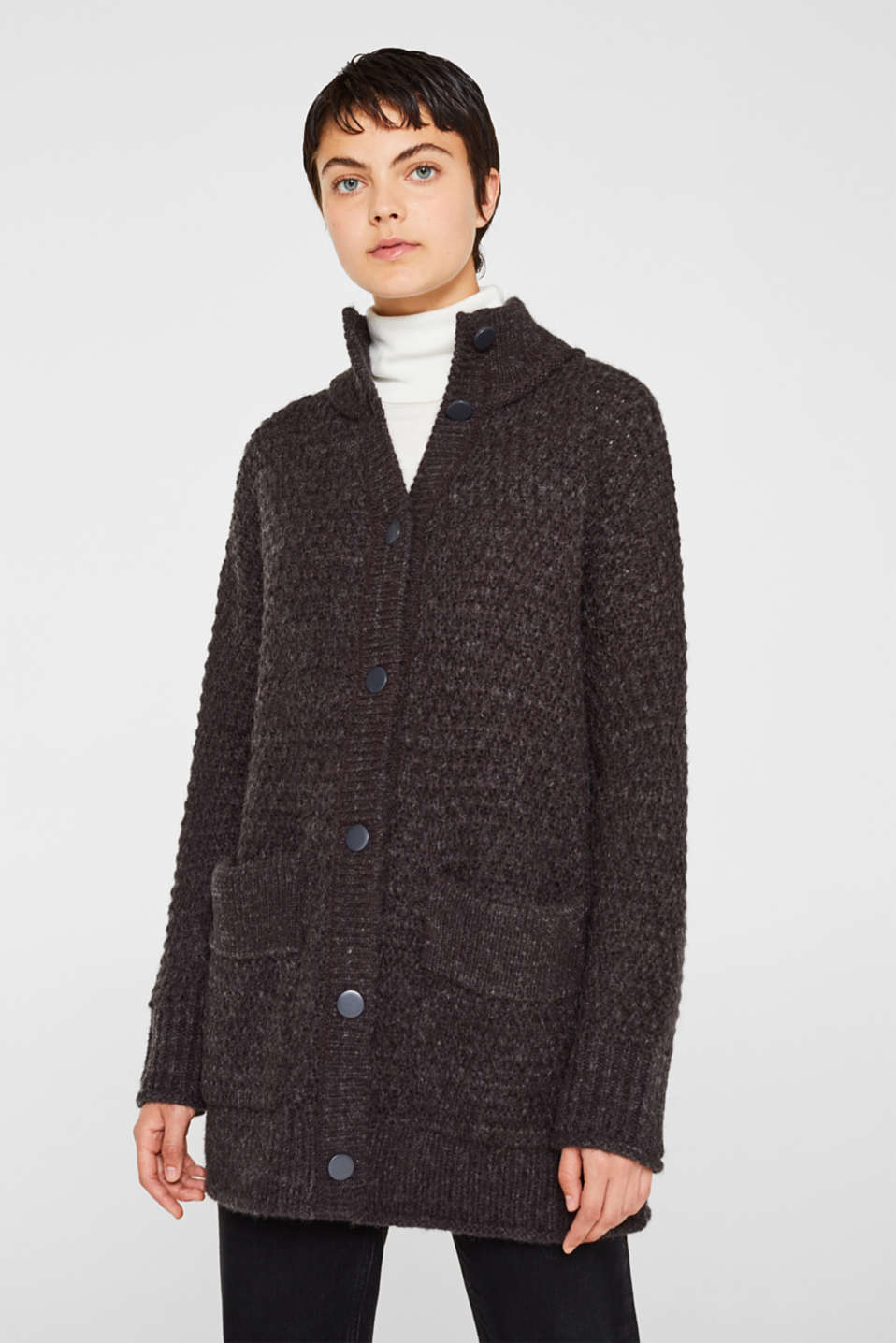 Sweaters cardigan, DARK GREY 5, detail image number 0