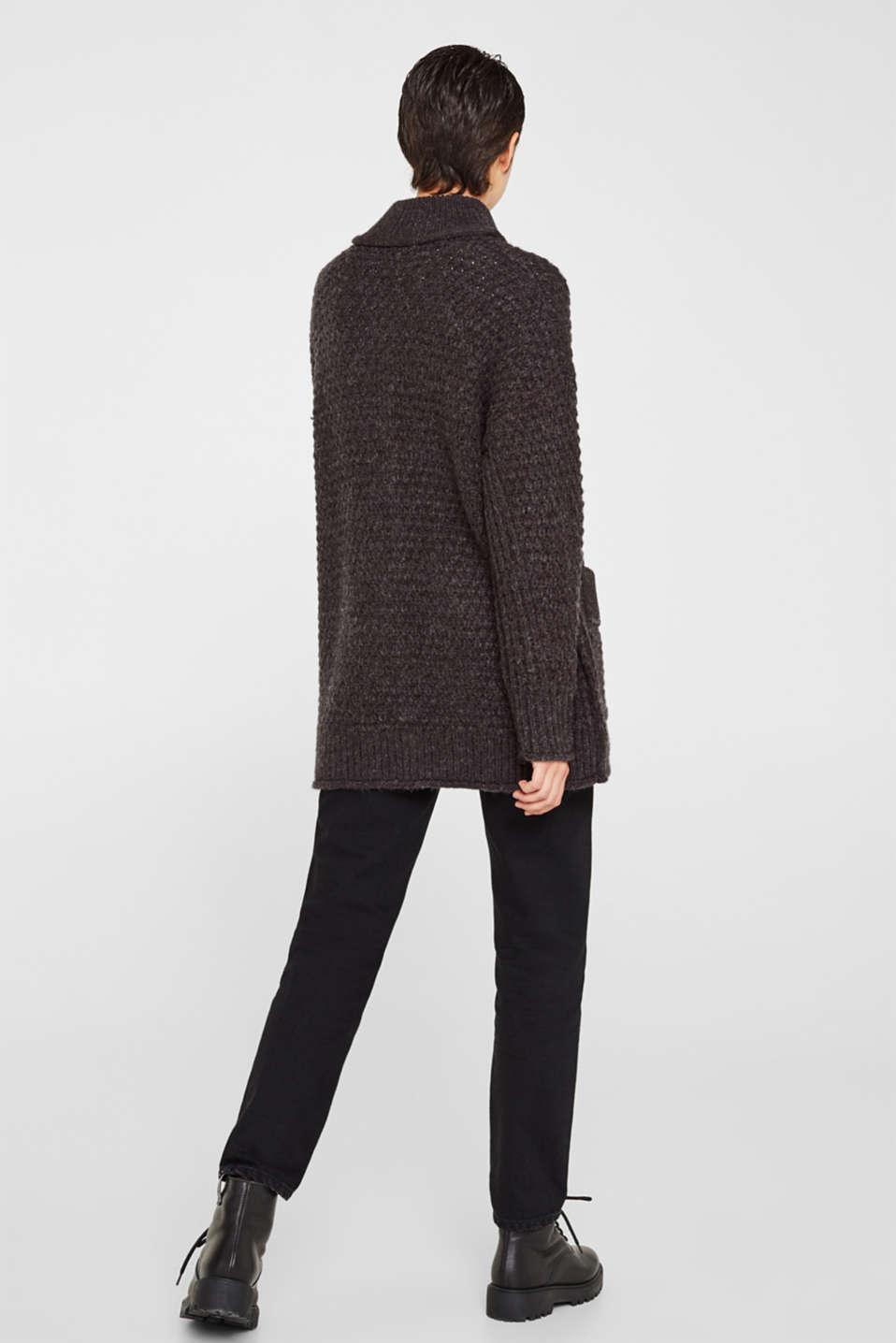 Sweaters cardigan, DARK GREY 5, detail image number 3