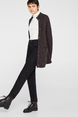 Wool blend: Chunky knit cardigan, DARK GREY 5, detail