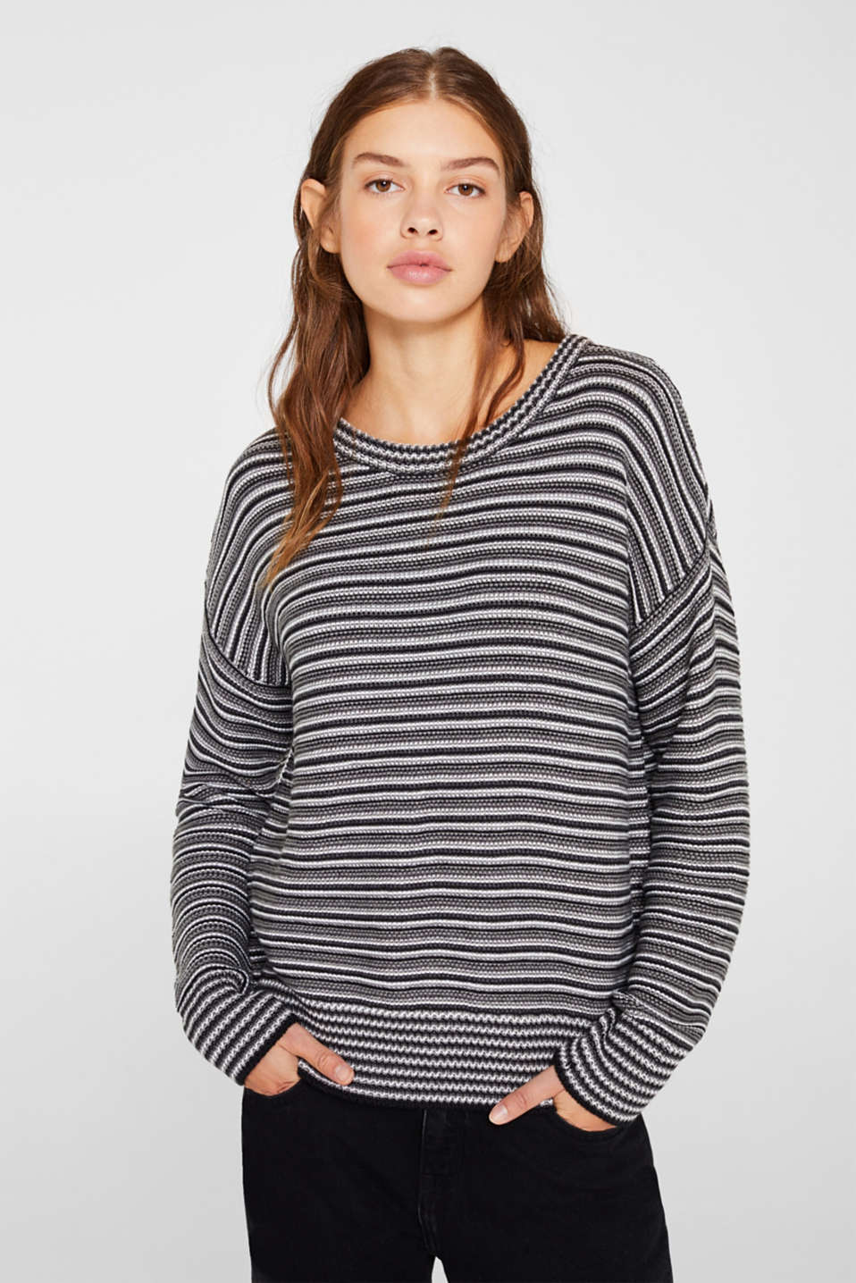 Jumper with a striped texture, GUNMETAL 5, detail image number 0