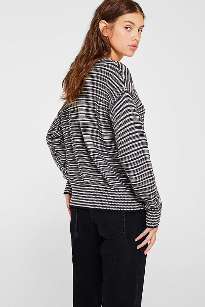 Jumper with a striped texture, GUNMETAL, detail image number 3