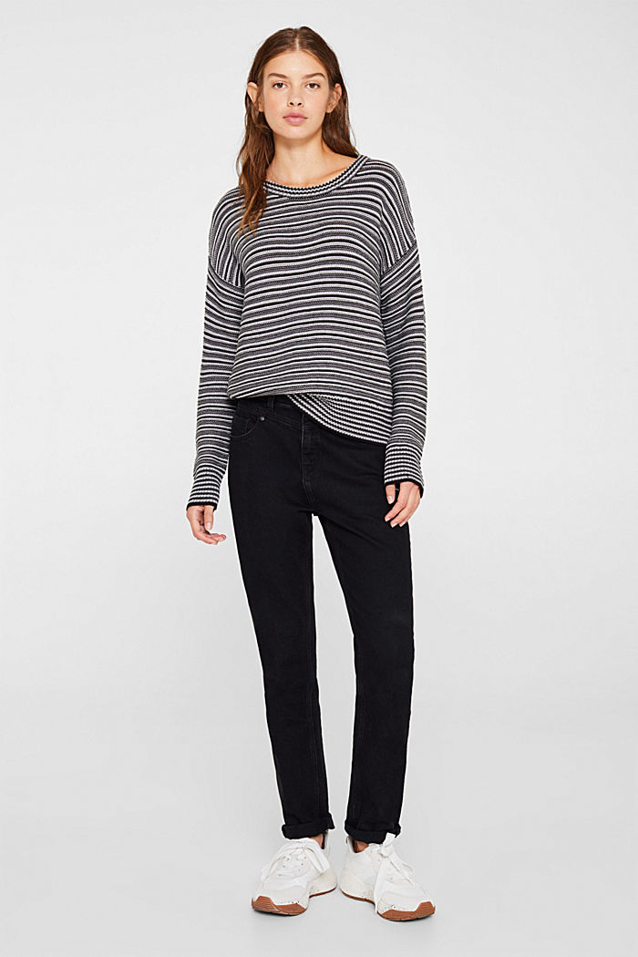 Jumper with a striped texture, GUNMETAL, detail image number 1