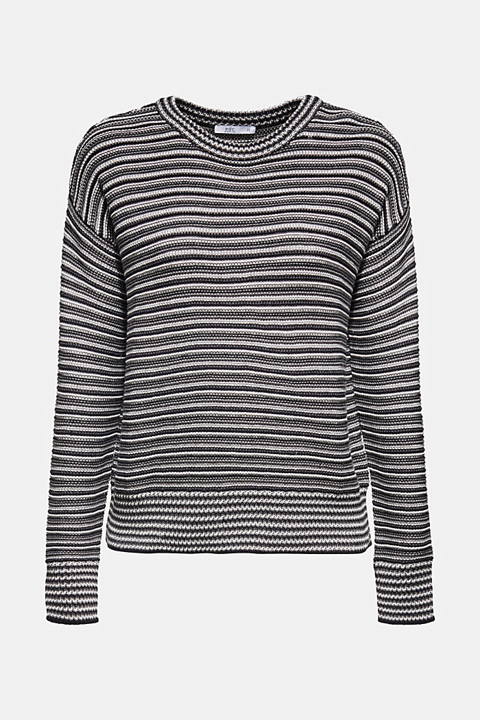 Jumper with a striped texture, GUNMETAL, detail image number 6
