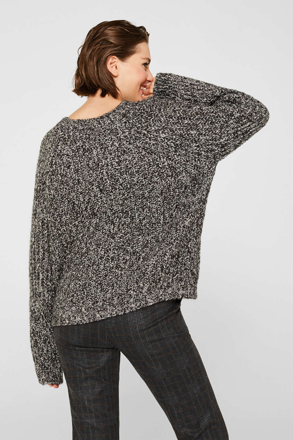 With wool: mouliné jumper, GUNMETAL 4, detail image number 3