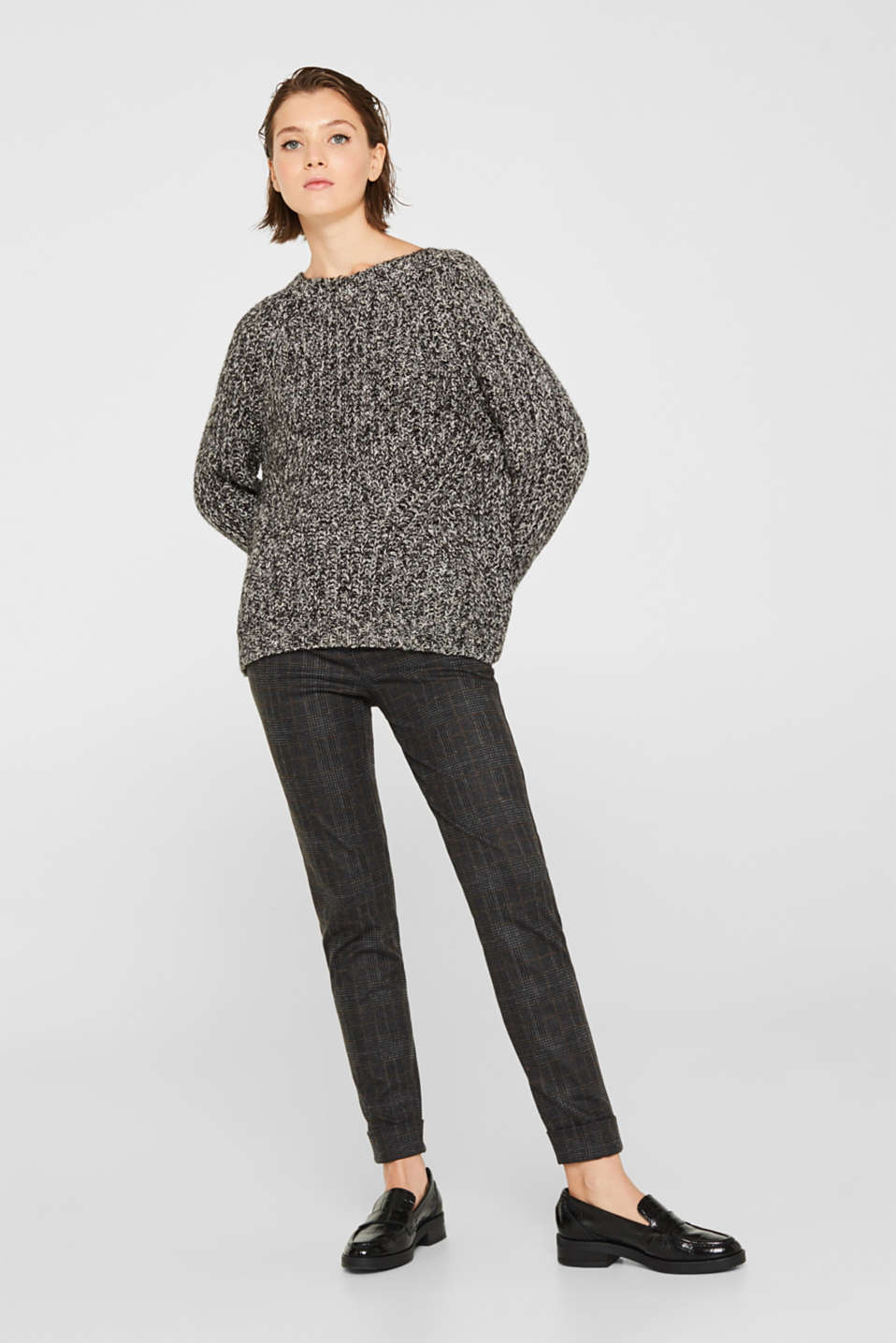 With wool: mouliné jumper, GUNMETAL 4, detail image number 5