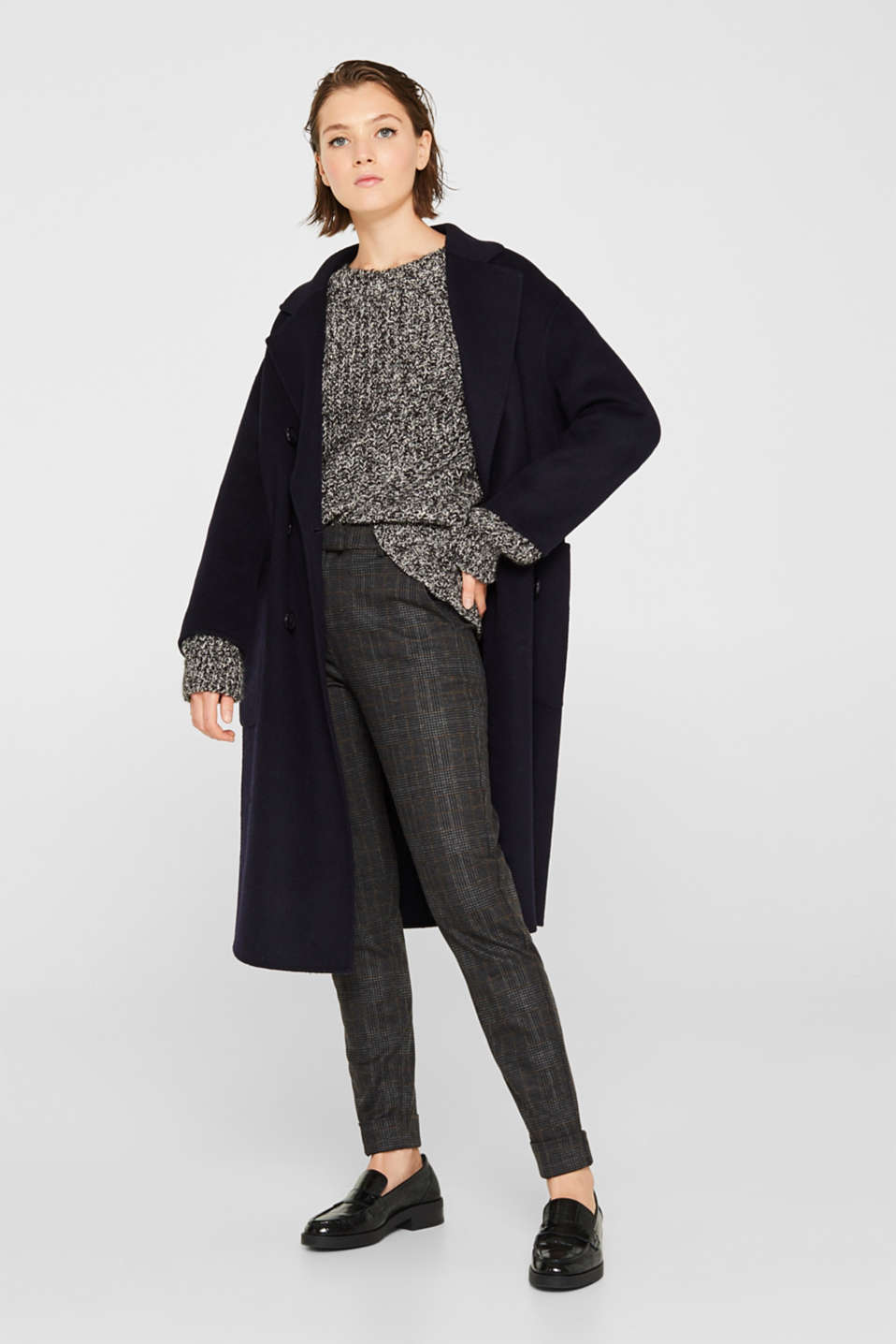 With wool: mouliné jumper, GUNMETAL 4, detail image number 1